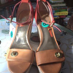 Coach leather sandal platform